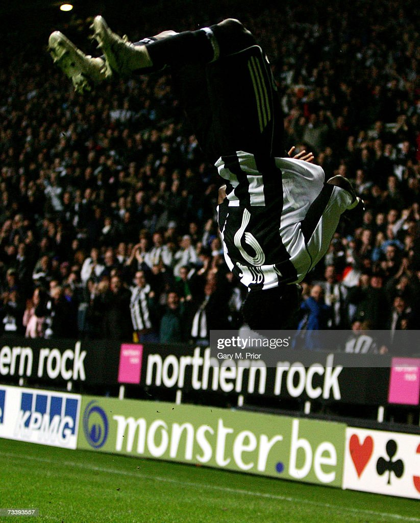 KINGDOM FEBRUARY 22 Obafemi Martins of Newcastle United celebrates scoring during the UEFA Cup 3rd round 2nd leg match between Newcastle United and...