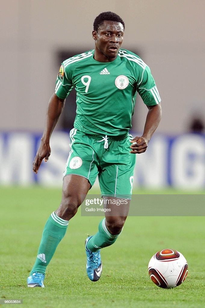 <a gi-track='captionPersonalityLinkClicked' href=/galleries/search?phrase=Obafemi+Martins&family=editorial&specificpeople=224574 ng-click='$event.stopPropagation()'>Obafemi Martins</a> of Nigeria in action during the African Nations Cup Group C match between Nigeria and Mozambique, at the Alto da Chela Stadium on January 20, 2010 in Lubango, Angola.