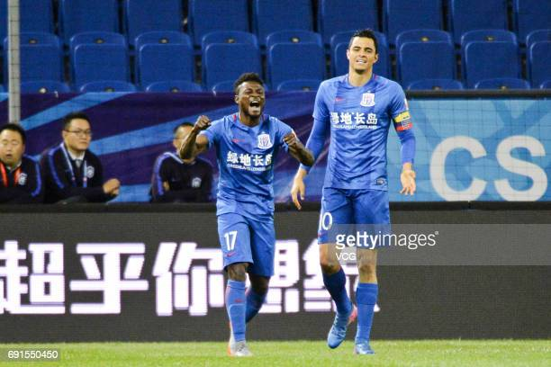 Obafemi Martins of Shanghai Shenhua celebrates after scoring a goal during 2017 Chinese Super League 12th round match between Tianjin Teda and...