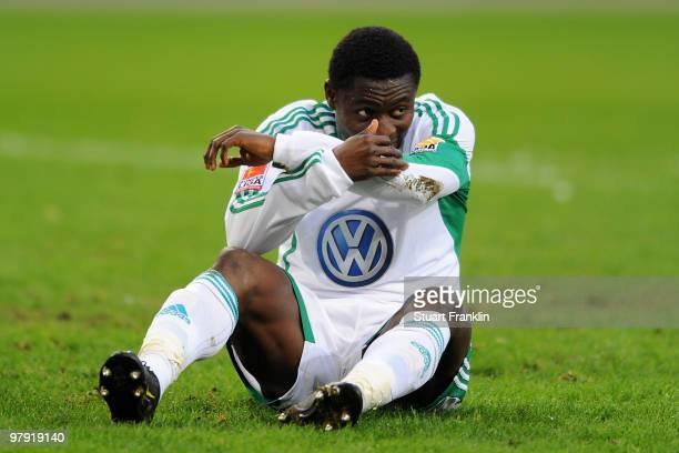 Obafemi Martins of Wolfsburg looks dejected during the Bundesliga match between VfL Wolfsburg and Hertha BSC Berlin at Volkswagen Arena on March 21...