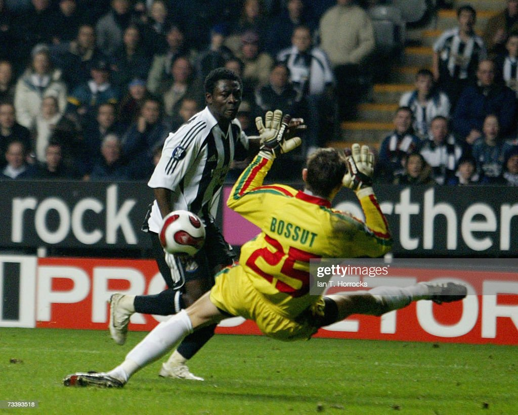 Obafemi Martins scores the first goal during the UEFA Cup first knockout round second leg match between Newcastle United and SV Zulte Waregem at St...