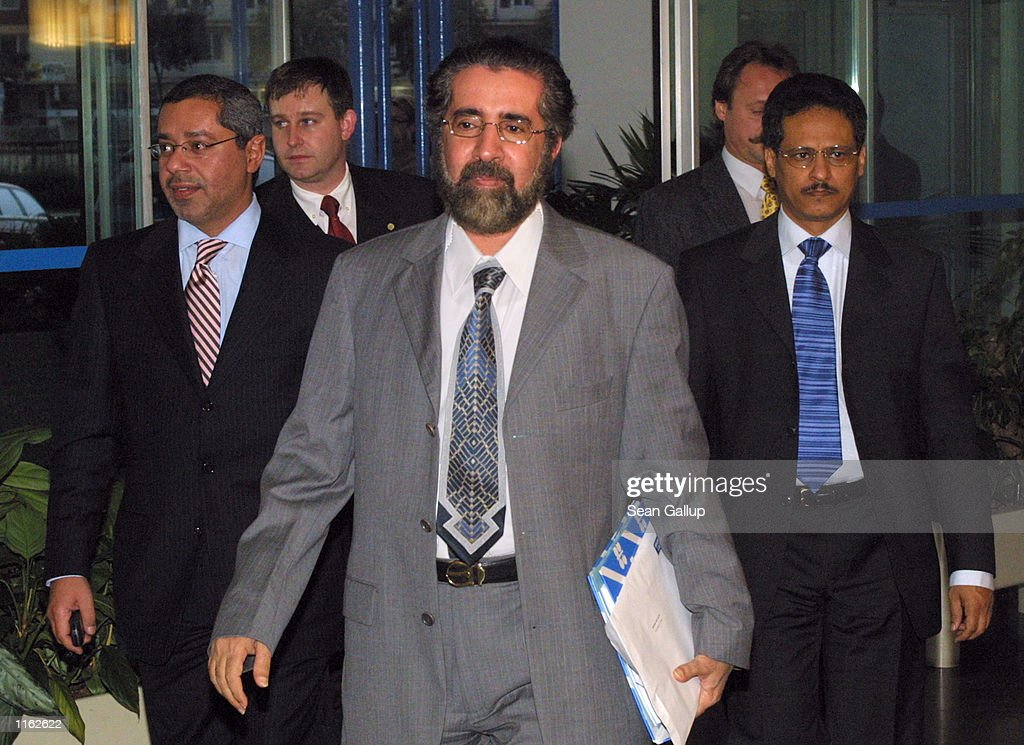 Obaid bin Saif Al-Nasseri (C), Minister of Petroleum and Mineral Resources of the United Arab Emirates, arrives at an Organization of the Petroleum Exporting Countries (OPEC) conference September 26, 2001 in Vienna, Austria. OPEC ministers are facing a severe drop in the price of oil in recent days.