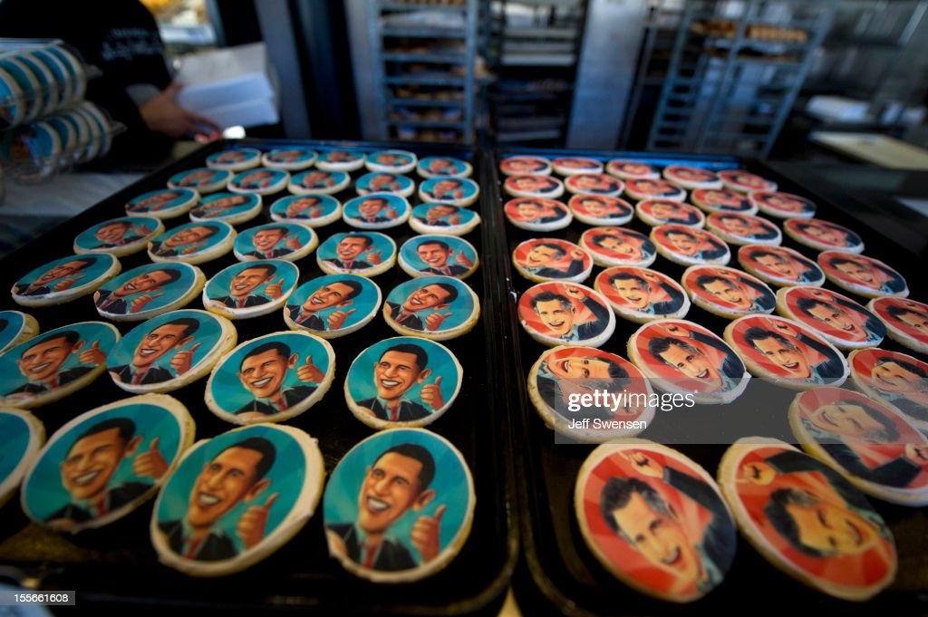Obama and Romney cookie trays beckon shoppers at the Oakmont Bakery on November 6, 2012 in Oakmont, Pennsylvania. Cookie purchase polls reveal customers have purchased 2,332 Romney cookies while 1,745 Obama cookies have been sold. As Americans are heading to the ballots, polls show that U.S. President Barack Obama and Republican presidential candidate Mitt Romney are in a tight race.