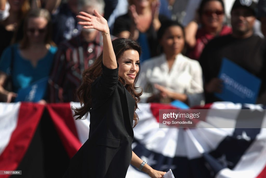 Obama for America National Co-Chair <a gi-track='captionPersonalityLinkClicked' href=/galleries/search?phrase=Eva+Longoria&family=editorial&specificpeople=202082 ng-click='$event.stopPropagation()'>Eva Longoria</a> addresses a campaign rally before the arrival of U.S. President Barack Obama on the campus of the College of Southern Nevada November 1, 2012 in North Las Vegas, Nevada. With five days remaining in the presidential campaign, Obama travels today to Wisconsin, Colorado and Nevada after spending the last four days leading the federal government's response to Superstorm Sandy.