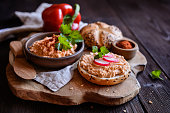 Obatzda - traditional Bavarian spread made of Camembert cheese, onion, butter, paprika powder and beer