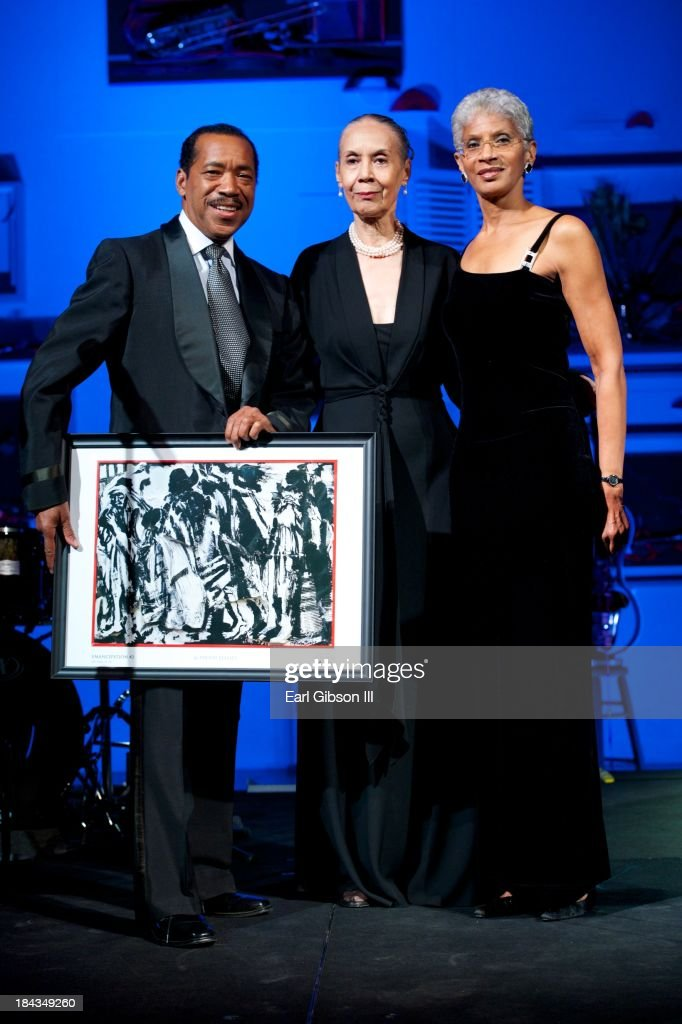 Obba Babatunde, Carmen de Lavallade and Charmaine Jefferson pose for a photo as Carmen de Lavallade receives her Lifetime Achievement Award at the California African American Museum on October 12, 2013 in Los Angeles, California.