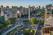 Buenos Aires, Argentina, - February. 20. 2016: Aerial view of Obelisco de Buenos Aires (Obelisk), historic monument and icon of city, in the Plaza de la Republica at avenues Corrientes and 9 de Julio,