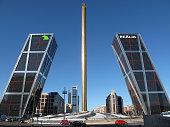 Obelisk by Santiago Calatrava in the Plaza de Castilla area Madrid Spain