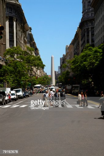 Obelisk in a city, Plaza De La Republica, Buenos Aires, Argentina : Foto de stock