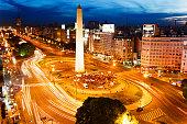 Obelisk on Avenue 9 de Julio in Buenos Aires December 2010