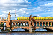Landmark Oberbaumbruecke bridge with passing subway train
