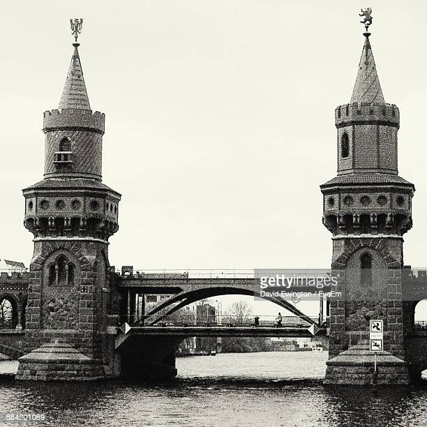 Oberbaum Bridge Over River Spree Against Clear Sky