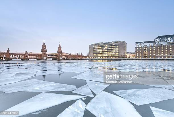 Oberbaumbr?cke Berlin with frozen Spree River