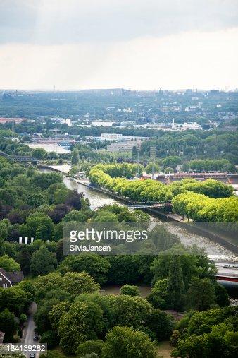Oberhausen panorama with Rhein Herne canal