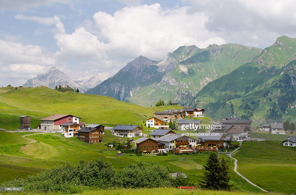 Oberlech with mountains in  background : Stock Photo