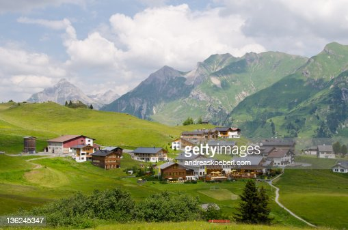 Oberlech with mountains in  background