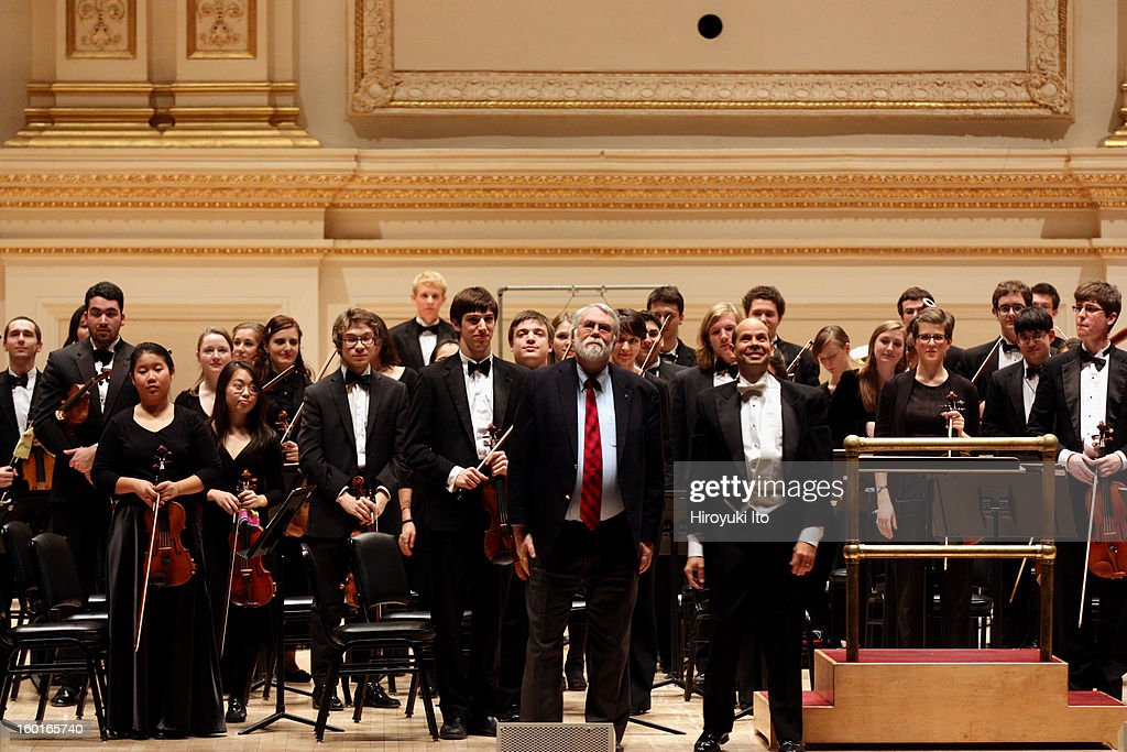 Oberlin Orchestra at Carnegie Hall on Saturday night, January 19, 2013.This image:The composer <a gi-track='captionPersonalityLinkClicked' href=/galleries/search?phrase=Christopher+Rouse&family=editorial&specificpeople=4159557 ng-click='$event.stopPropagation()'>Christopher Rouse</a>, center, with the conductor Raphael Jimenez after the Oberlin Orchestra performed Mr. Rouse's 'Iscariot.'