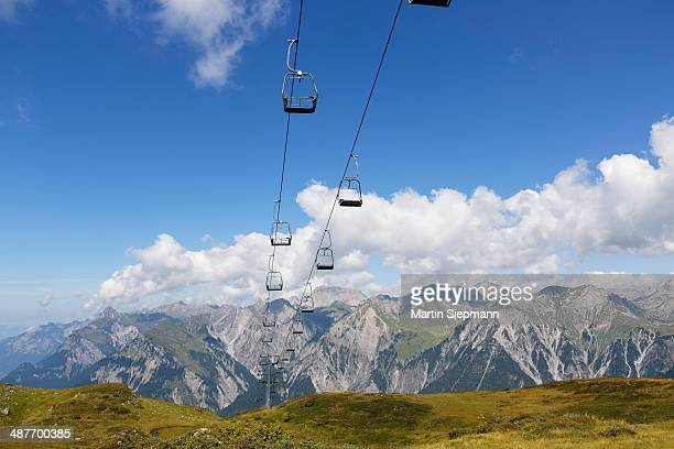 Obermooslift chairlift, Sonnenkopf skiing region, Lechquellen Mountains at the back, Verwall mountains, Vorarlberg, Austria