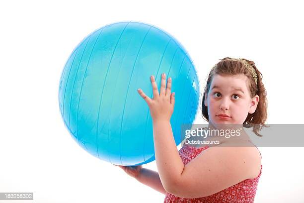obese girl with blue ball