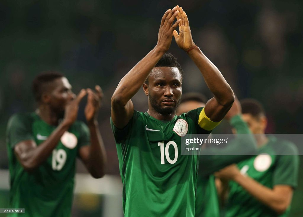 Obi Mikel of Nigeria celebrates after winning an international friendly match between Argentina and Nigeria at Krasnodar Stadium on November 14, 2017 in Krasnodar, Russia.