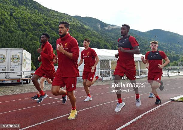 Obie Ejaria Emre Can Kamil Grabara Divock Origi and Ben Woodburn of Liverpool during a training session at RottachEgern on July 28 2017 in Munich...