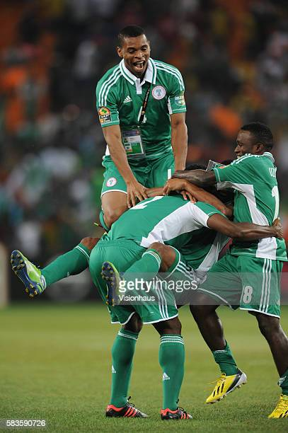 Obiora Nwankwo Joseph Jobo Ejike Uzoenyi and Ikechukwe Uche of Nigeria celebrate winning the 2013 African Cup of Nations Final match between Nigeria...