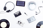 objects for audio recordings on a white background
