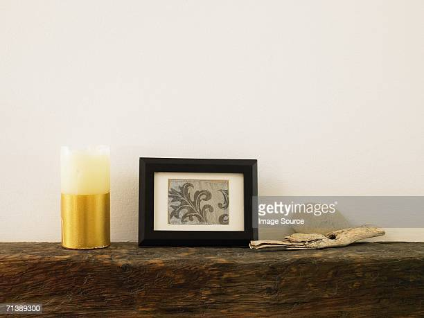 Objects on a mantelpiece