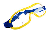 Skydiving goggles on white background