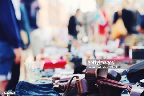 Objects On Stall At Flea Market For Sale