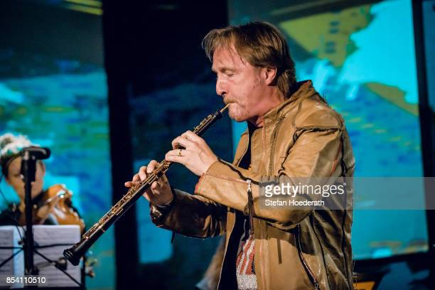 Oboist Albrecht Mayer performs live on stage during Yellow Lounge x Reeperbahn Festival organized by recording label Deutsche Grammophon at...