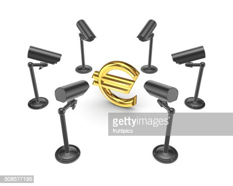 Observation cameras around symbol of euro. : Stock Photo