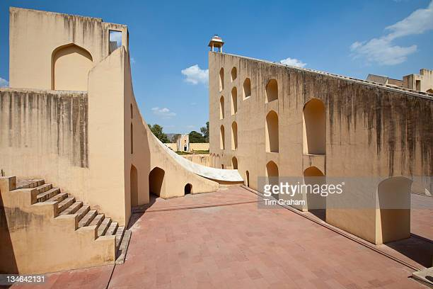 Observation deck of The Giant Sundial Samrat Yantra The Supreme Instrument at The Observatory in Jaipur Rajasthan India