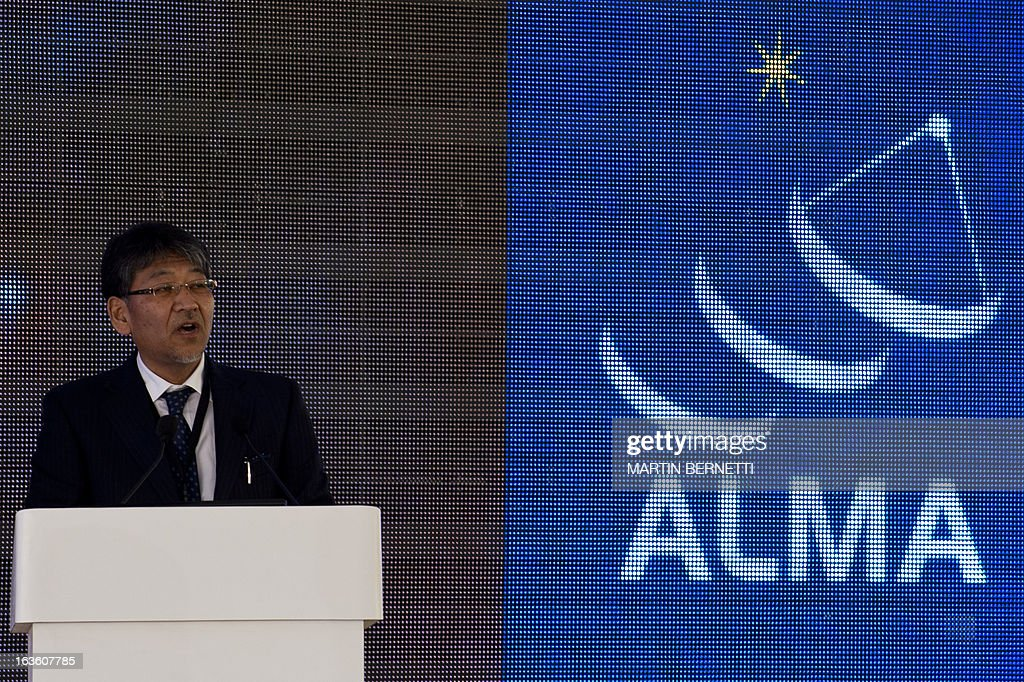 Observatory Chief Scientist Japanese Ryohei Kawabe speaks during the inauguration of the ALMA (Atacama Large Millimeter/submillimeter Array) project station in the San Pedro de Atacama , Atacama desert, some 1500 km north of Santiago, on March,13,2013. The ALMA, an international partnership project of Europe, North America and East Asia with the cooperation of Chile, is presently the largest astronomical project in the world. Today will be opened 59 of 66 high precision antennas, located at 5000 of altitude in the extremely arid Atacama desert. AFP PHOTO/Martin BERNETTI