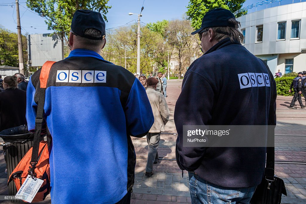 OSCE observers during the second anniversary of the Odessa clashes in Kulikovo Pole square, Ukraine on May 2, 2016.