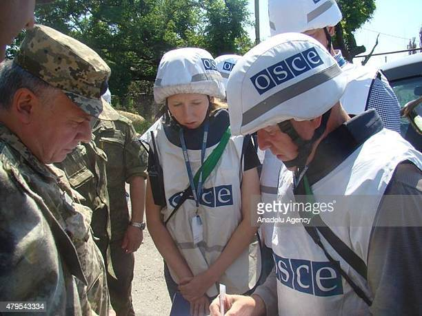 OSCE observes arrive to Shirokino after clashes between Ukrainian army and proRussian separatists ended in Shirokino district of Mariupol on July 5...
