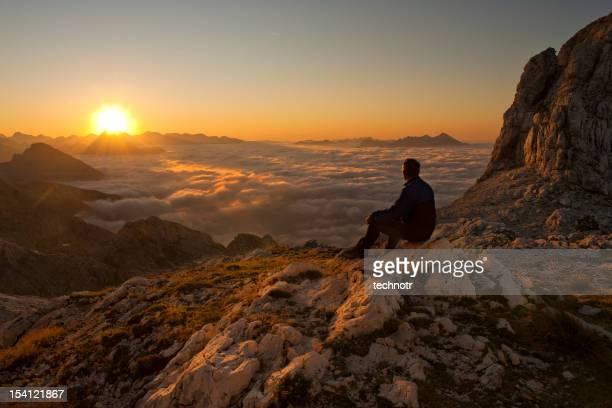 Observing the sunrise in Julian Alps
