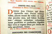 A 70 year old missal with Latin. Used when mass was said entirely in Latin. This is a child's missal with the English translation.