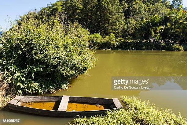 Obsolete Wooden Boat At Lake By Trees