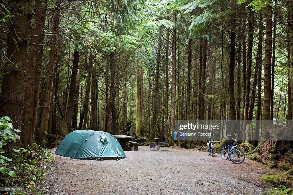 Occupied campsite at camping ground : Stock Photo