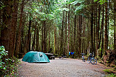 Occupied campsite at camping ground