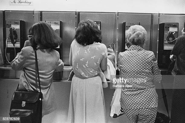 Occupied payphones in New York City USA May 1980