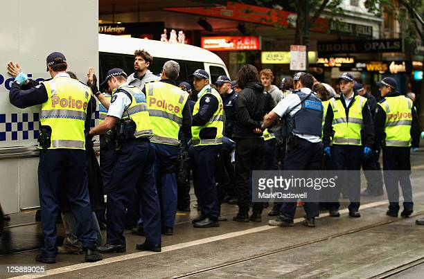 'Occupy Melbourne' protestors are arrested by Police on October 21 2011 in Melbourne Australia Protesters and riot police clashed in Melbourne today...