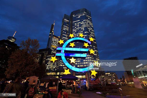 Occupy Movement & European Central Bank at dusk