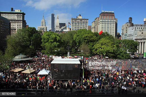 Occupy protesters in Union Square New York USA 1st May 2012 Photo Tim Clayton