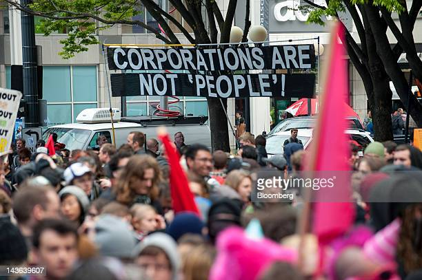 Occupy Seattle protesters an offshoot of the Occupy Wall Street movement hold a May Day rally and anticapitalist march in Seattle Washington US on...