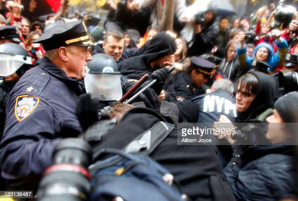 Occupy Wall Street protesters clash with police in Zuccotti Park on November 17 2011 in New York City Protesters attempted to shut down the New York...
