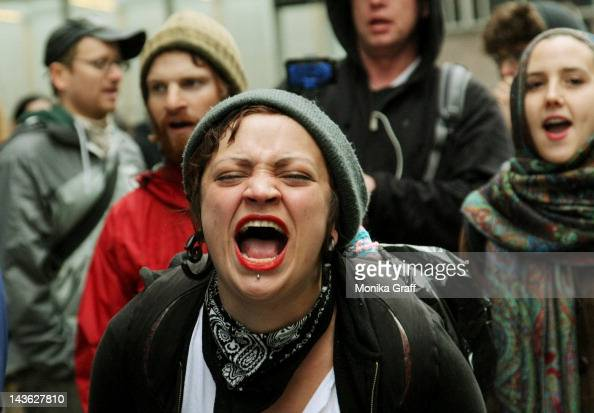 Occupy Wall Street protesters picket during a May Day rally in front of the Bank of America buidling on May 1 2012 in New York City Demonstrators...
