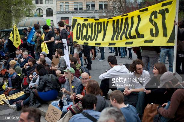 Occupy Wall Street protesters protest in Union Square at the end of a march from Zuccotti Park to Union Square on March 24 2012 in New York City The...