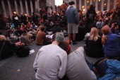 Occupy Wall Street protesters regroup in Foley Square after New York City police in riot gear removed the protesters from Zuccotti Park early on...